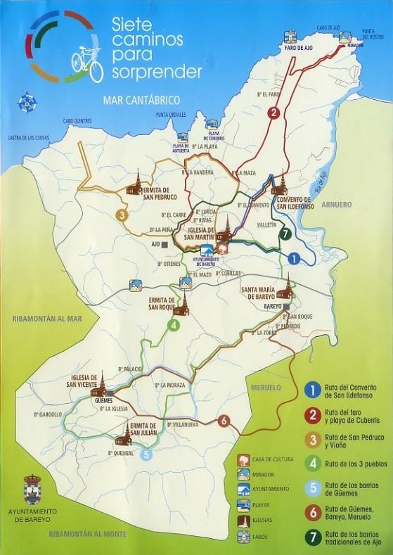 Mapa con las siete rutas en Ajo